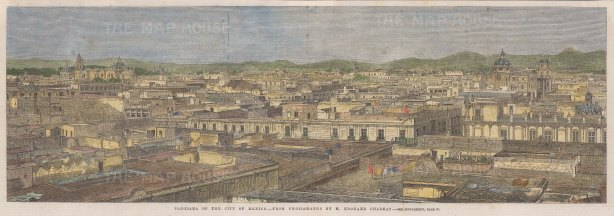 """Illustrated London News: Mexico City. 1863. A hand coloured original antique wood engraving. 20"""" x 7"""". [MEXp181]"""