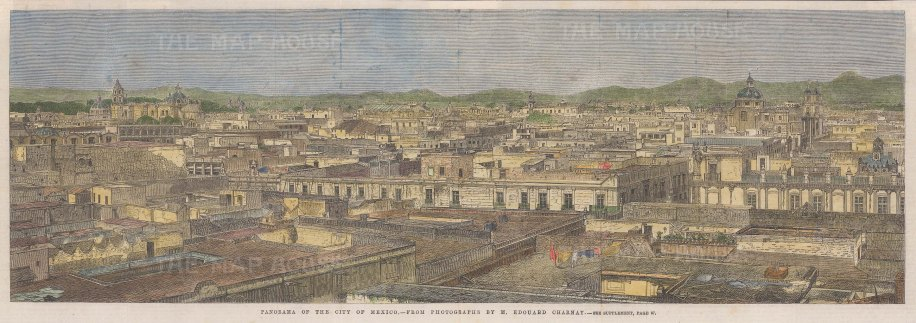 "Illustrated London News: Mexico City. 1863. A hand coloured original antique wood engraving. 20"" x 7"". [MEXp181]"