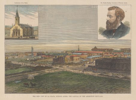 "Illustrated London News: La Plata, Argentina. 1884. A hand coloured original antique wood engraving. 9"" x 6"". [SAMp1471]"