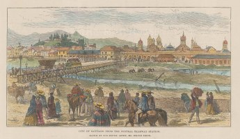 "Illustrated London News: Santiago, Chile. 1889. A hand coloured original antique wood engraving. 9"" x 5"". [SAMp1472]"