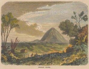 "Collins: Floreana Island (Charles Island), Galapagos Islands. c1870. A hand coloured original antique wood engraving. 6"" x 5"". [SAMp1475]"
