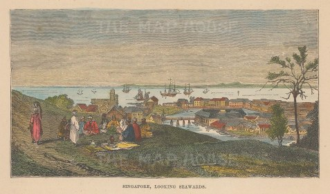 "Anonymous: Singapore. c1890. A hand coloured original antique wood engraving. 6"" x 3"". [SEASp1744]"