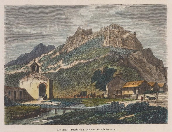 "Garnier: Rio Frio, Puerto Rico. 1876. A hand coloured original antique wood engraving. 6"" x 5"". [WINDp1020]"