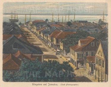 "Geitlbeck: Kingston, Jamaica. 1897. A hand coloured original antique wood engraving. 5"" x 4"". [WINDp1047]"
