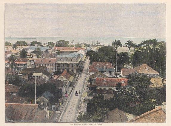 "Johnson: Port of Spain, Trinidad. c1910. An original colour antique photo-lithograph. 10"" x 8"". [WINDp1057]"