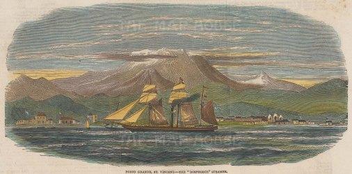 "Illustrated London News: Porto Grande, St. Vincent. 1851. A hand coloured original antique wood engraving. 9"" x 5"". [WINDp1090]"