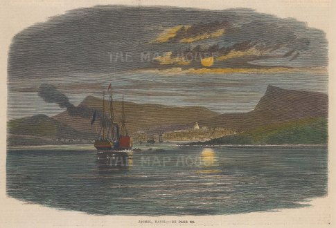"Illustrated London News: Jacmel, Haiti 1865. A hand coloured original antique wood engraving. 10"" x 7"". [WINDp1107]"