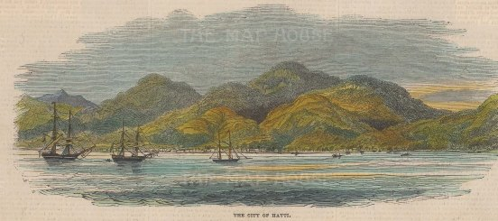 "Illustrated London News: Haiti. 1844. A hand coloured original antique wood engraving. 9"" x 4"". [WINDp1109]"