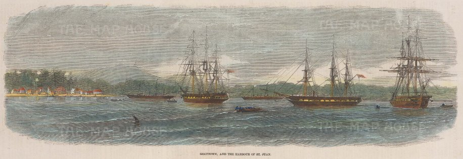 """Illustrated London News: Greytown, Puerto Rico. 1857. A hand coloured original antique wood engraving. 14"""" x 5"""". [WINDp1128]"""