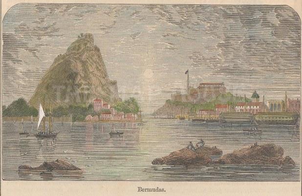 "Illustrated London News: St George's, Bermuda. c1880. A hand coloured original antique wood engraving. 5"" x 3"". [WINDp1147]"