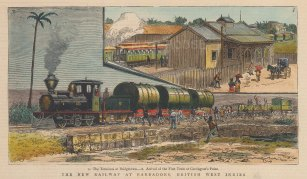 "Graphic Magazine: Bridgetown, Barbados. 1882. A hand coloured original antique wood engraving. 9"" x 7"". [WINDp1201]"
