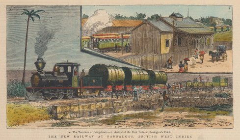 "Graphic Magazine: Bridgetown, Barbados. 1882. A hand coloured original antique wood engraving. 9"" x 7"". [WINDp1201]"