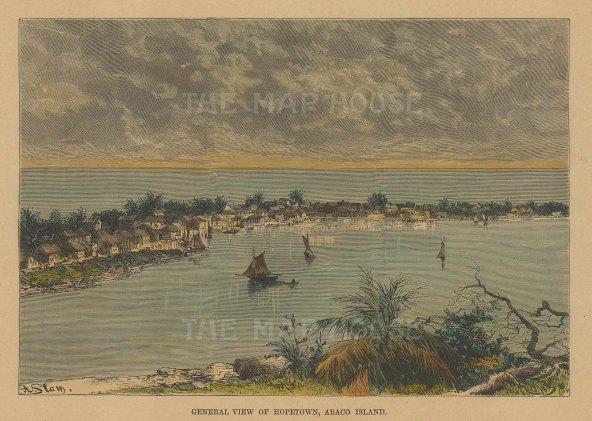 "Reclus: Abaco Island, Bahamas. 1894. A hand coloured original antique wood engraving. 7"" x 5"". [WINDp1205]"