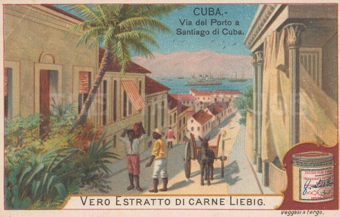 "Liebig's Extract: Santiago, Cuba. c1900. An original colour antique chromolithograph. 4"" x 3"". [WINDp1213]"