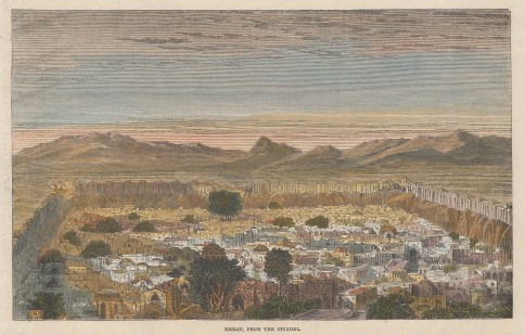 """Illustrated London News: Herat. 1863. A hand coloured original antique wood engraving. 9"""" x 6"""". [AFGp167]"""