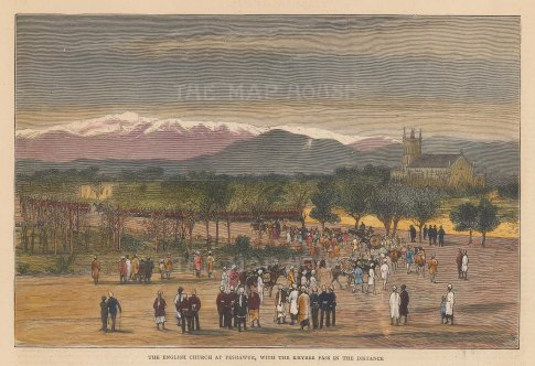 Peshawur. View of the English Church with the Khyber Pass in the distance.