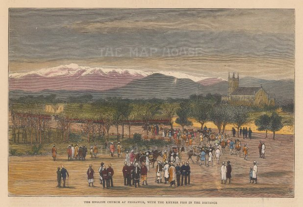 Peshawur: View of the English Church with the Khyber Pass in the distance.