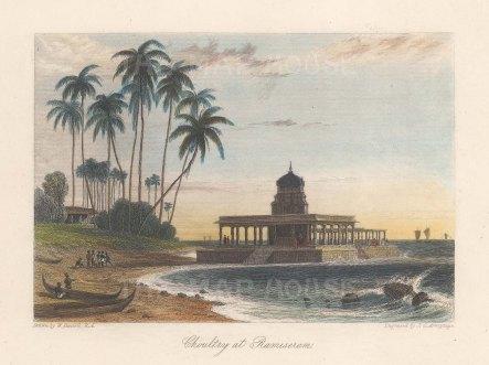 Pamban Island: A choultry at Rameswaram. After William Daniell.