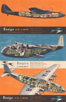 Imperial Airways: Ensign Air Liner. For Empire Services. Promotional poster illustrated with cross sections of the Flying Boat being built by Sir W.G. Armstrong Whitworth Aircraft Ltd.