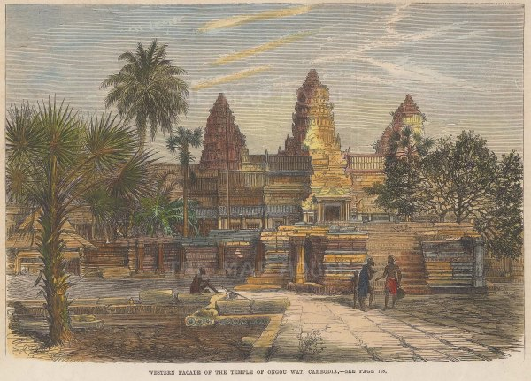 "Illustrated London News: Angkor Wat, Cambodia. 1868. A hand coloured original antique wood engraving. 9"" x 6"". [SEASp1751]"