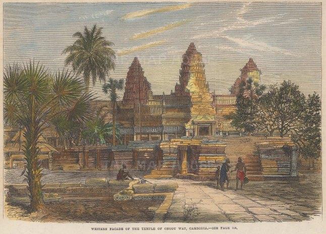 "Illustrated London News: Angkor Wat, Cambodia. 1868. A hand coloured original antique wood engraving. 9"" x 6"". [SEASp1751]"