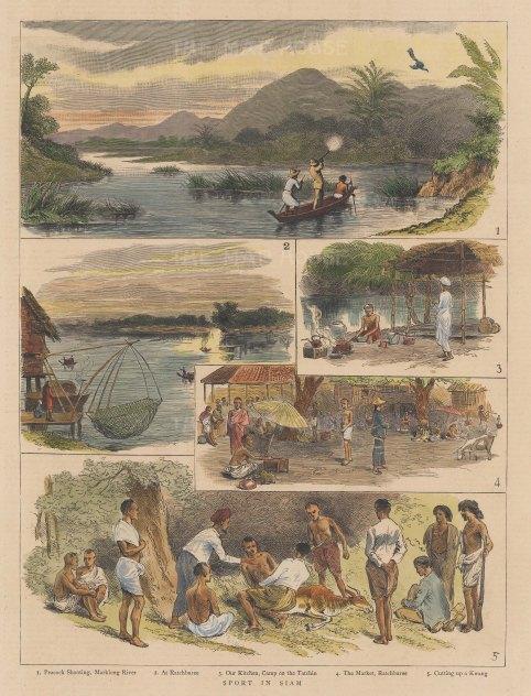 "Graphic Magazine: Ratchburee. 1886. A hand coloured original antique wood engraving. 9"" x 12"". [SEASp1753]"