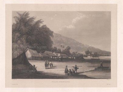 Vietnam: Han River: Village on the Han river near Da Nang. After Barthelemy Lauvergne, artist on the voyage of La Favorite 1829-32.