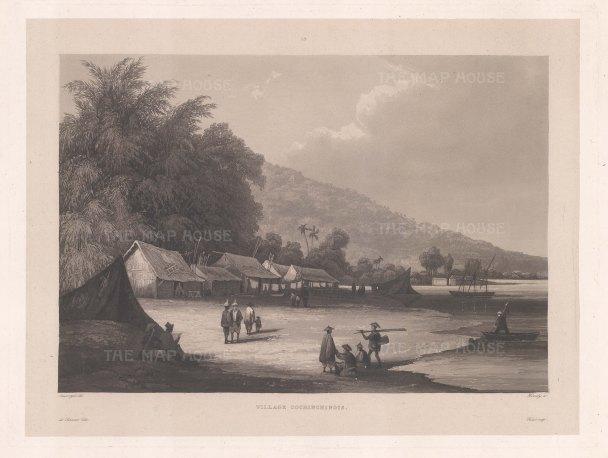 Vietnam, Han River. Village on the Han river near Da Nang. After Barthelemy Lauvergne, artist on the voyage of La Favorite 1829-32.