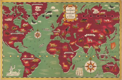Les Animaux a Fourrures dans le Monde: Unusual pictorial world map showing the world's fur-bearing animals. By Lucien Boucher for Maison Simon Freres furriers.