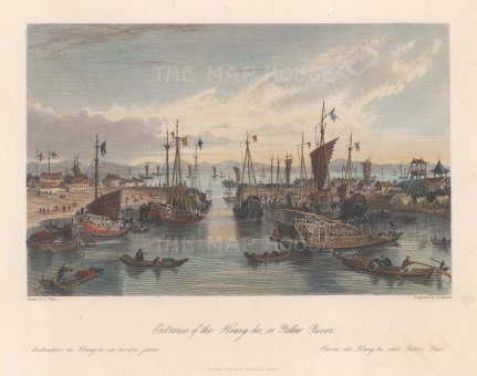 """Wright: Huang--He (Yellow River). 1847. A hand coloured original antique steel engraving. 9"""" x 7"""". [CHNp1159]"""