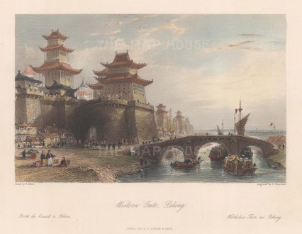 """Wright: Gugong, Beijing (Imperial Palace, Peking). 1847. A hand coloured original antique steel engraving. 9"""" x 7"""". [CHNp1160]"""
