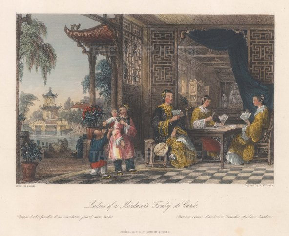 Ladies of a Mandarin's family playing cards.