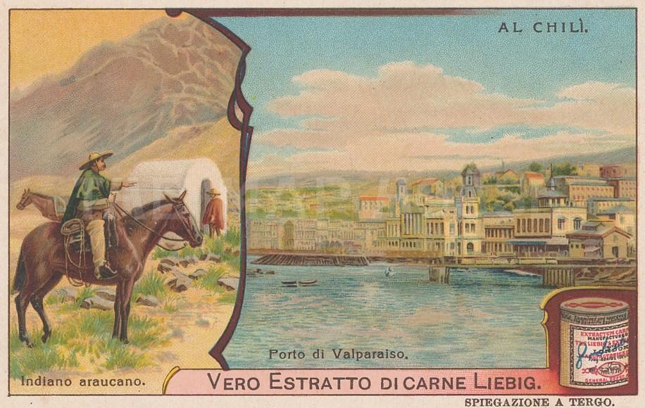 """Liebig's Extract: Valparaiso, Chile. c1900. An original antique chromolithograph. 4"""" x 3"""". [SAMp1081]"""