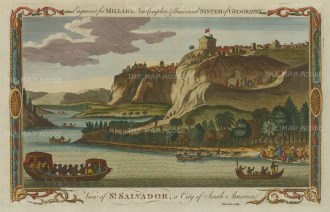 "Millar: Salvador. 1782. A hand coloured original antique copper engraving. 12"" x 8"". [SAMp1125]"