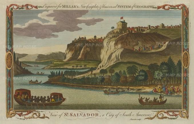 """Millar: Salvador. 1782. A hand coloured original antique copper engraving. 12"""" x 8"""". [SAMp1125]"""