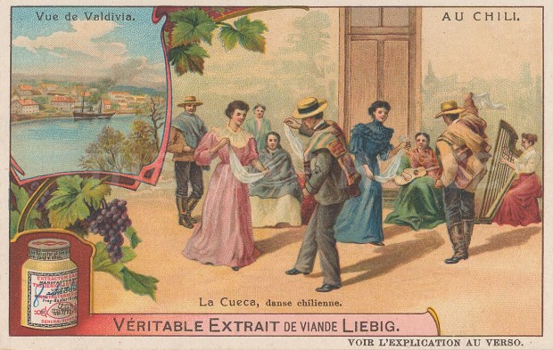 "Leibig's Extract: Chilean dance. c1900. An original antique chromolithograph. 4"" x 3"". [SAMp1133]"