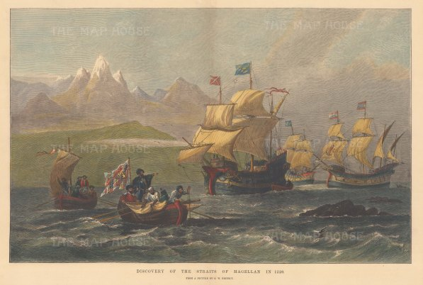 The Discovery of the Straits by Ferdinand Magellan in 1520.