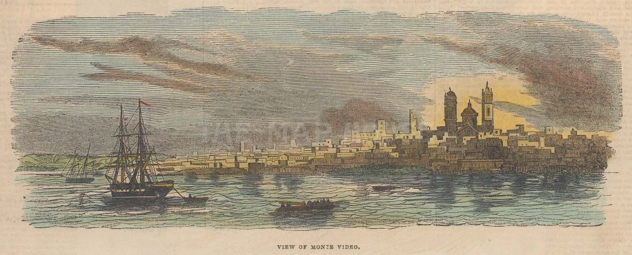 "Anonymous: Montevideo, Uruguay. c1880. A hand coloured original antique wood engraving. 9"" x 4"". [SAMp1184]"