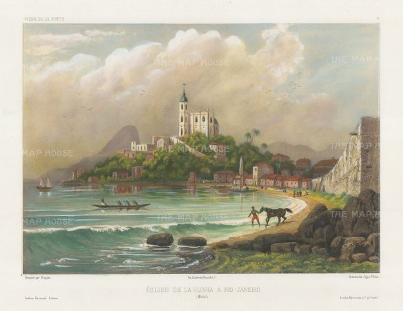 Rio de Janeiro: Gloria Church with the Sugar Loaf Mountain in the distance. After Theodore-Auguste Fisquet, artist on the voyage of La Bonite 1836-7.