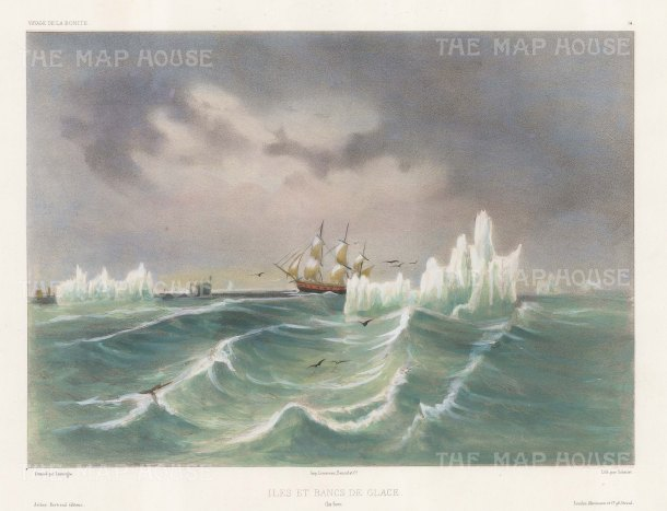 "Capt. Vaillant: Cape Horn, Chile. c1850. A hand coloured original antique lithograph. 15"" x 10"". [SAMp1298]"