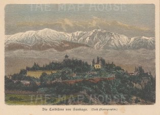 "Geiltbeck: Santiago, Chile. 1897. A hand coloured original antique wood engraving. 5"" x 4"". [SAMp1305]"