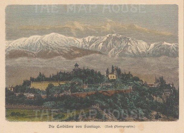 "Geiltbeck: Santiago, Chile. 1897. A hand coloured original antique wood engraving. 5"" x 4"". [SAMp1305]"