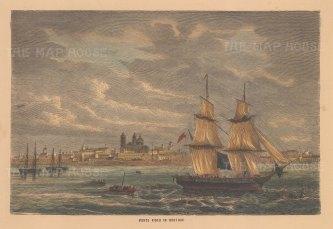 "Collins: Montevideo, Uruguay. c1870. A hand coloured original antique wood engraving. 10"" x 7"". [SAMp1310]"