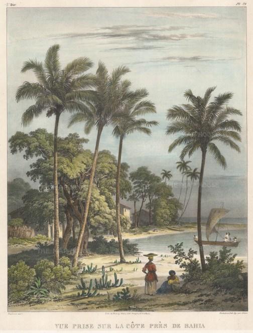 "Rugendas: Bahia. 1835. An original colour antique lithograph. 10"" x 13"". [SAMp1396]"