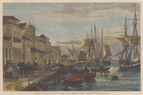 "Illustrated London News: Boavista. 1865. A hand coloured original antique wood engraving. 14"" x 10"". [SAMp1402]"
