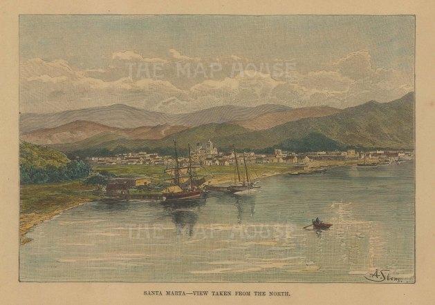 "Reclus: Santa Marta, Colombia. 1894. A hand coloured original antique wood engraving. 7"" x 5"". [SAMp1451]"