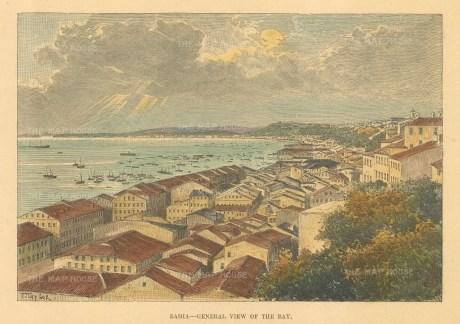 "Reclus: Bahia. 1894. A hand coloured original antique wood engraving. 7"" x 5"". [SAMp1453]"