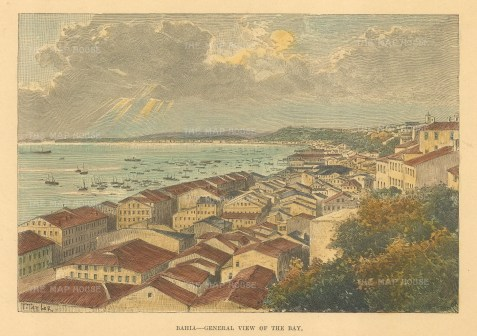 "Reclus: Bahia. 1894. A hand coloured original antique wood engraving. 7"" x 5"". [SAMp1453]"