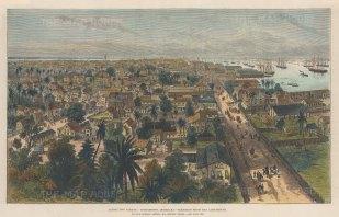 "Illustrated London News: Georgetown, Guyana. 1888. A hand coloured original antique wood engraving. 14"" x 9"". [SAMp1477]"