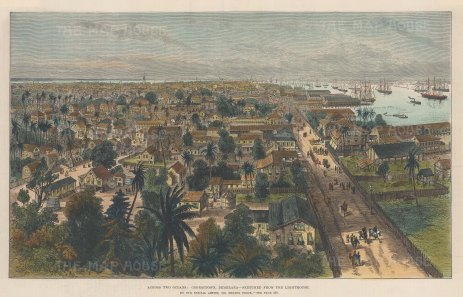 "Illustrated London News: Georgetown, Guyana. 1888. A hand coloured original antique wood engraving. 14"" x 9"". [SAMp1477]"